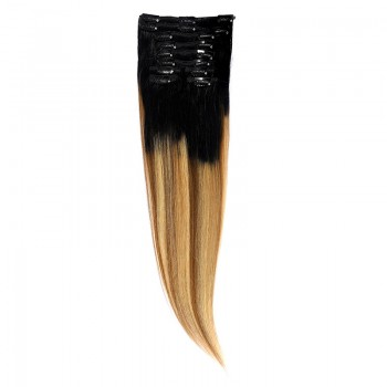 Clip-On Par Natural 60cm 100gr Balayage Negru Deschis/Saten Luminos/Blond Opal 1B/8/22