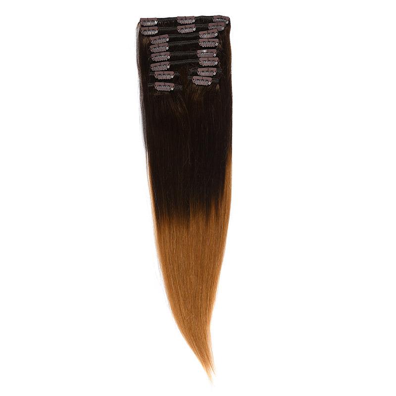 Clip-On Par Natural 60cm 100gr Ombre Castaniu/Blond Miere #T2/27