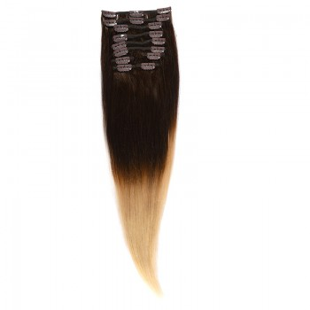 Clip-On Par Natural 60cm 100gr Ombre Castaniu/Blond Deschis #T2/60