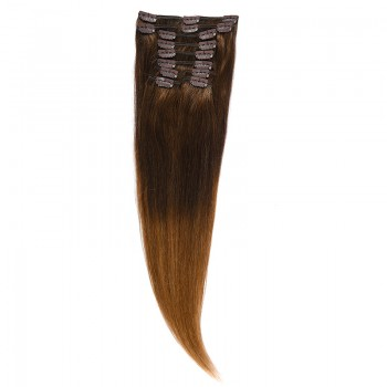 Clip-on Par Natural 50cm 100gr Ombre Castaniu/Saten Natural #T2/7