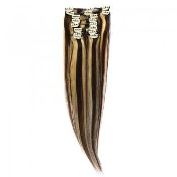 Clip-On Par Natural 60cm 100gr Saten Ciocolatiu Suvitat/Blond Deschis #4/60