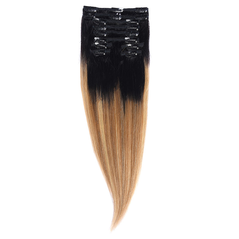 Clip-On Par Natural 40cm 90gr Balayage Negru Deschis/Saten Luminos/Blond Opal 1B/8/22