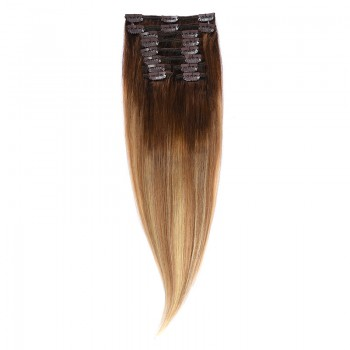 Clip-On Par Natural 40cm 90gr Balayage Castaniu/Saten Luminos/Blond Opal 2/8/22
