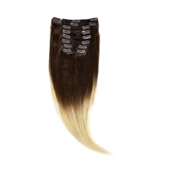 Clip-On Par Natural 40cm 90gr Ombre Saten Ciocolatiu-Blond Deschis #T4/60