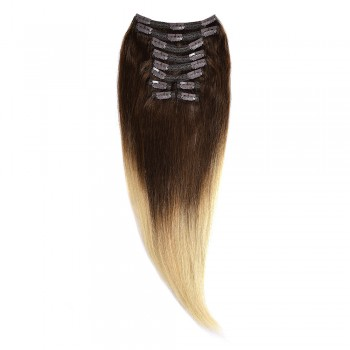 Clip-On Par Natural Volum 60cm 180gr Ombre Saten Ciocolatiu-Blond Deschis #T4/60