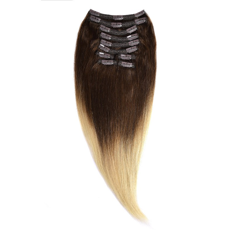 Clip-On Par Natural MegaVolum 50cm 240gr Ombre Saten Ciocolatiu-Blond Deschis