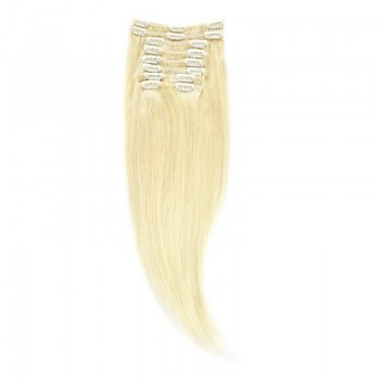 Clip-On Par Natural 60cm 100gr Blond Alb #WhiteBlonde