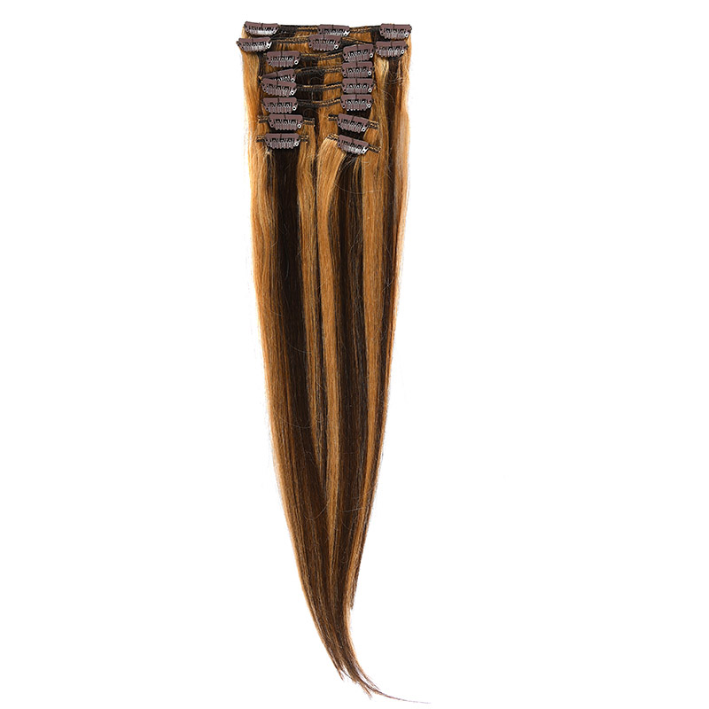 Clip-on Par Natural 50cm 100gr Saten Ciocolatiu Suvitat/Blond Miere #4/27