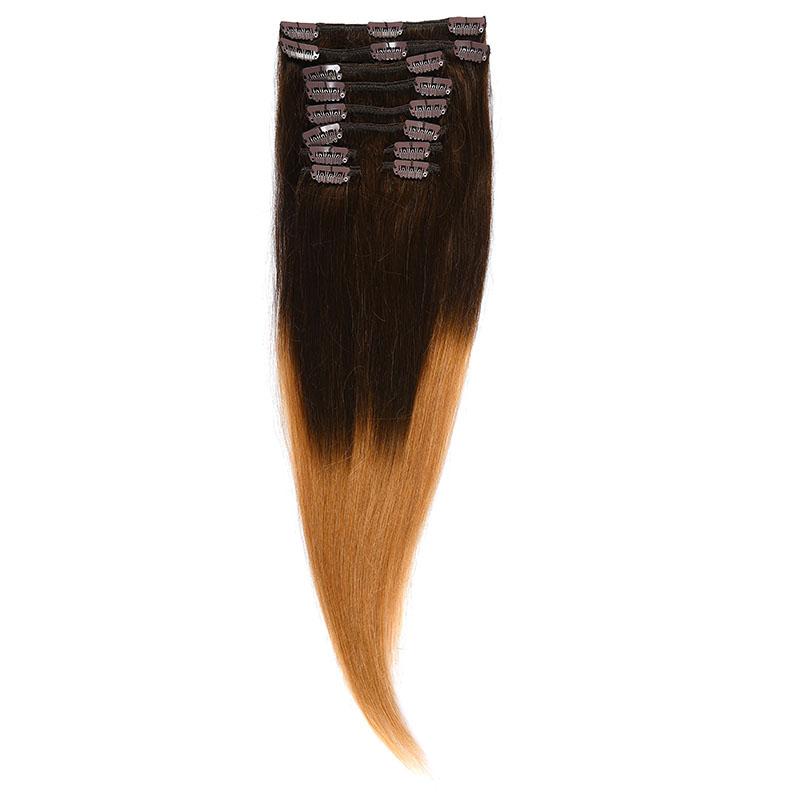 Clip-On Par Natural 40cm 90gr Ombre Saten Ciocolatiu/Blond Miere #T4/27
