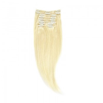 Clip-On Par Natural 40cm 90gr Blond Alb #WhiteBlonde