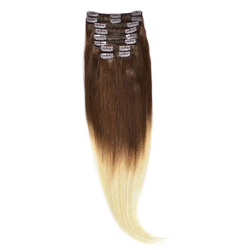 Clip-On Par Natural 60cm 100gr Ombre Saten Ciocolatiu-Blond Deschis