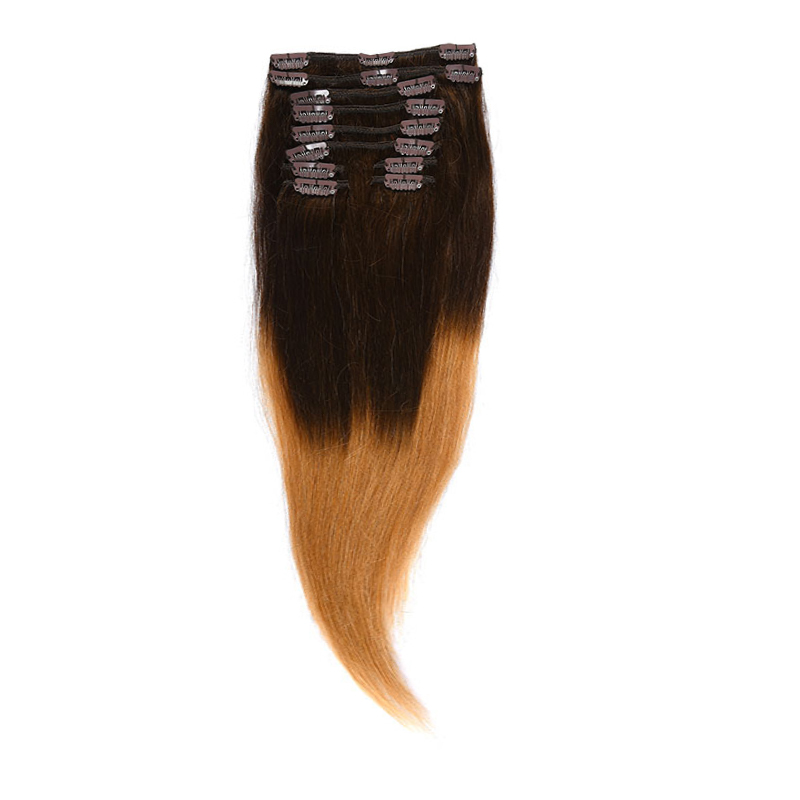 Clip-On Par Natural Volum 40cm 140gr Ombre Saten Ciocolatiu/Blond Miere #T4/27
