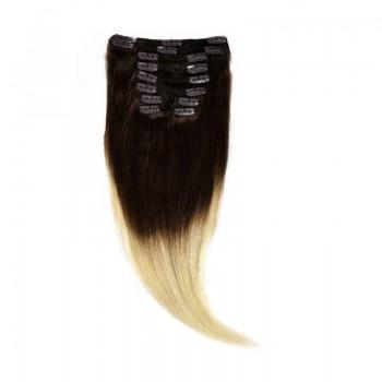 Clip-On Par Natural Volum 40cm 140gr Ombre Castaniu/Blond Deschis #T2/60