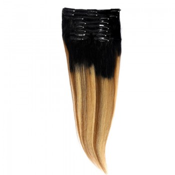Clip-On Par Natural Volum 50cm 180gr Balayage Negru Deschis/Saten Luminos/Blond Opal 1B/8/22