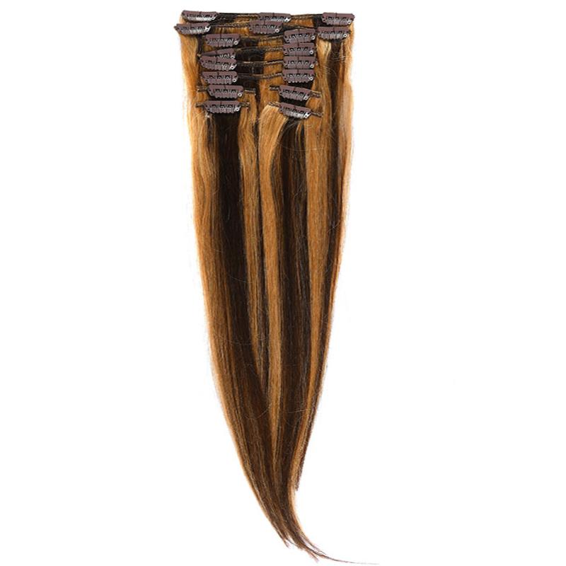 Clip-On Par Natural Volum 50cm 180gr Saten Ciocolatiu Suvitat/Blond Miere #4/27