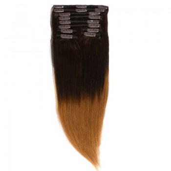 Clip-On Par Natural MegaVolum 50cm 240gr Ombre Castaniu/Blond Miere #T2/27