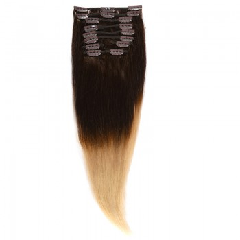Clip-On Par Natural Volum 50cm 180gr Ombre Castaniu/Blond Deschis #T2/60