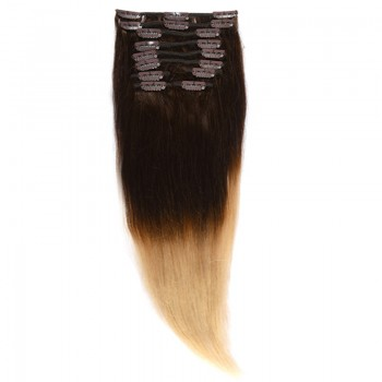 Clip-On Par Natural MegaVolum 50cm 240gr Ombre Castaniu/Blond Deschis #T2/60