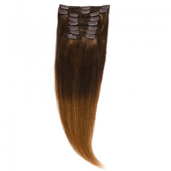 Clip-On Par Natural Volum 50cm 180gr Ombre Castaniu/Saten Natural #T2/7