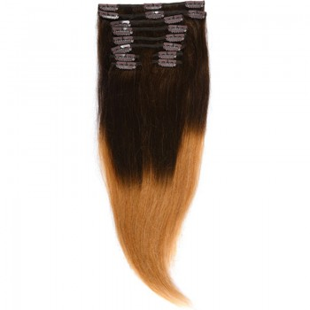Clip-On Par Natural MegaVolum 50cm 240gr Ombre Saten Ciocolatiu/Blond Miere #T4/27