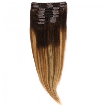 Clip-On Par Natural Volum 50cm 180gr  Balayage Castaniu/Saten Luminos/Blond Opal 2/8/22