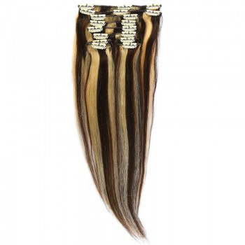 Clip-On Par Natural MegaVolum 50cm 240gr Saten Ciocolatiu Suvitat/Blond Deschis #4/60
