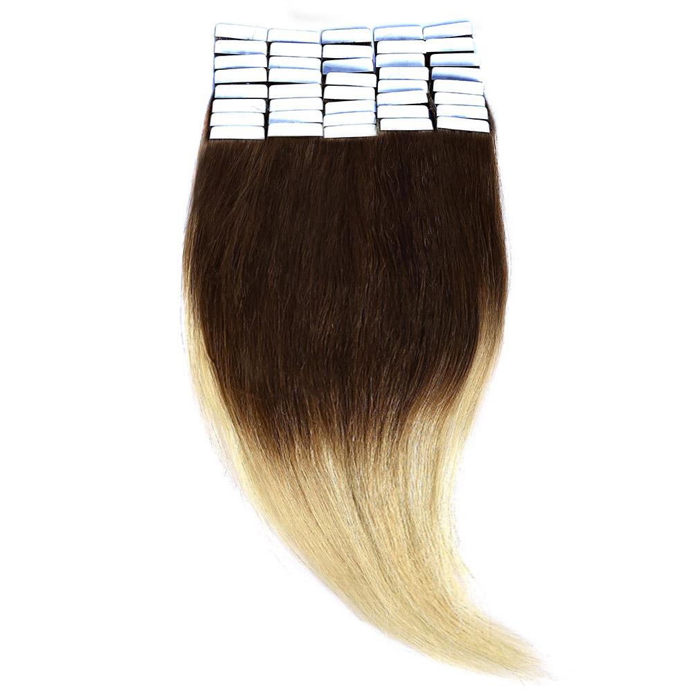 Tape-In Par Natural Volum 50cm 40suv 170gr Ombre Saten Ciocolatiu-Blond Deschis #T4/60
