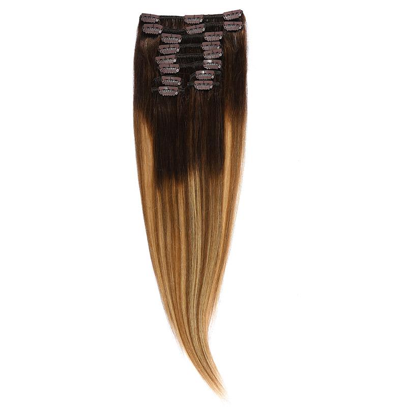 Clip-on Par Natural 50cm 100gr Balayage Castaniu/Saten Luminos/Blond Opal 2/8/22