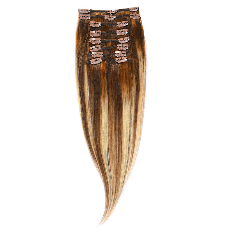Clip-On Par Natural 40cm 90gr Balayage Saten Mediu/Blond Opal/Saten Mediu 6/22/6