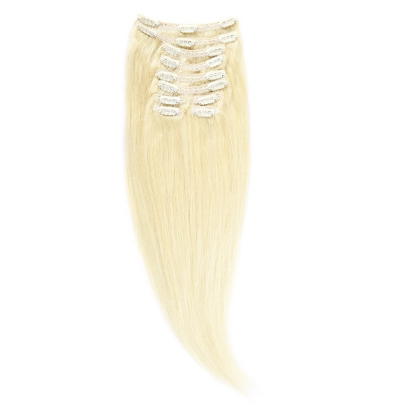 Clip-On Par Natural Volum 50cm 180gr Blond Alb #WhiteBlonde