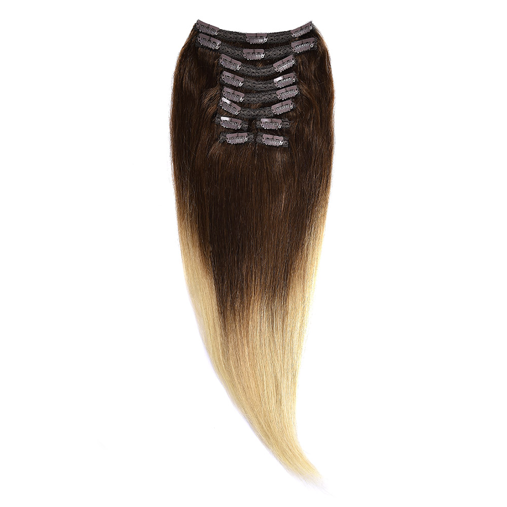 Clip-On Par Natural Volum 70cm 180gr Ombre Saten Ciocolatiu-Blond Deschis #T4/60