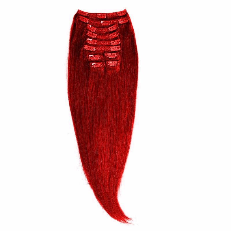 Clip-on Par Natural MegaVolum 70cm 240gr Rosu Aprins #RED