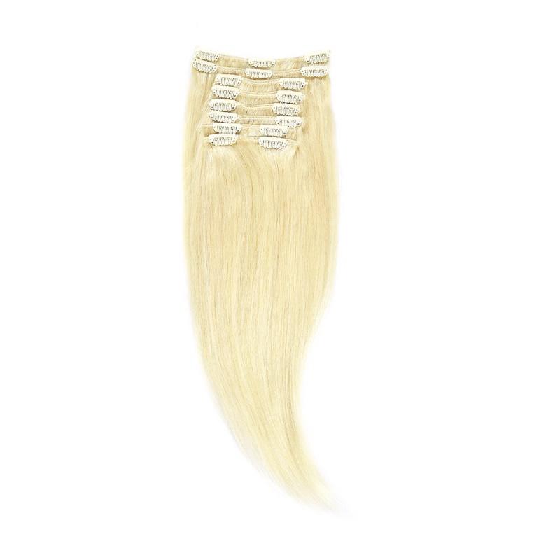 Clip-On Par Natural 40cm 90gr Blond Alb #WhiteBlonde