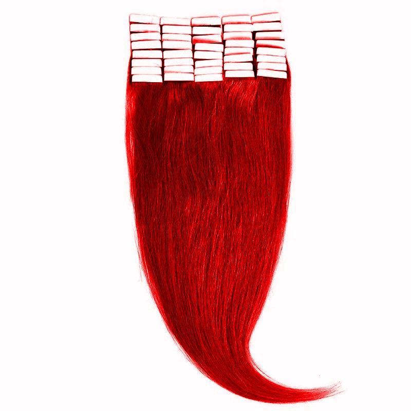 Tape-In Par Natural 60cm 40suv 100gr Rosu Aprins #RED
