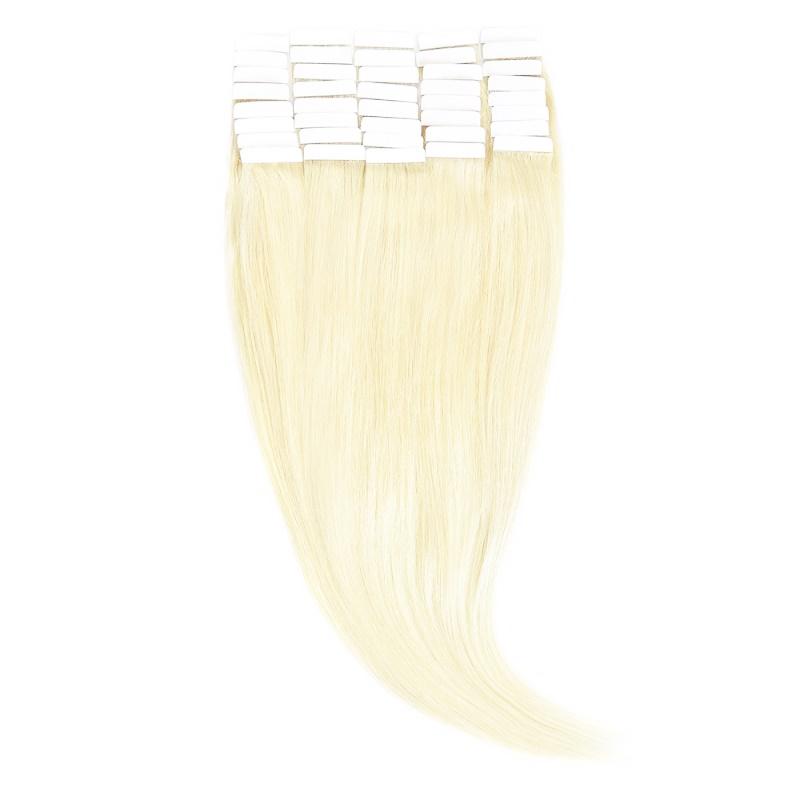 Tape-In Par Natural 60cm 40suv 100gr Blond Alb #WhiteBlonde