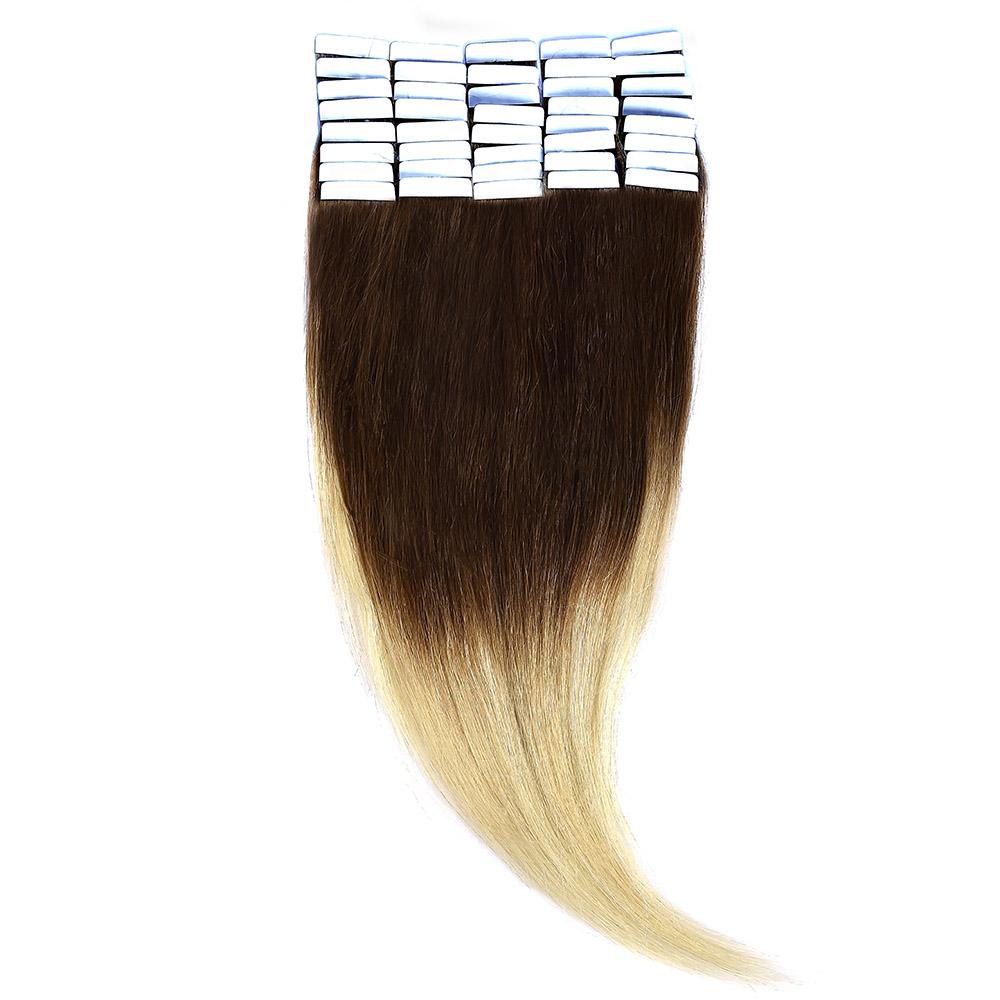 Tape-In Par Natural 60cm 40suv 100gr Ombre Saten Ciocolatiu/Blond Deschis #T4/60