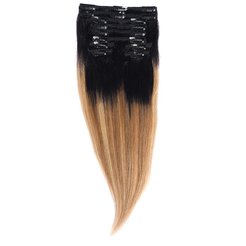 Clip-On Par Natural Volum 40cm 140gr Balayage Negru Deschis/Saten Luminos/Blond Opal 1B/8/22