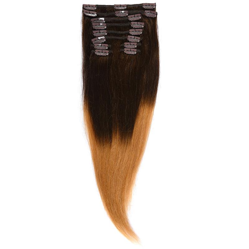 Clip-On Par Natural Volum 50cm 180gr Ombre Saten Ciocolatiu/Blond Miere #T4/27